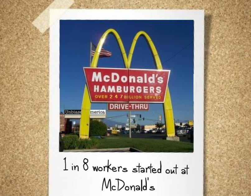 1 in 8 employees started out at McDonald's